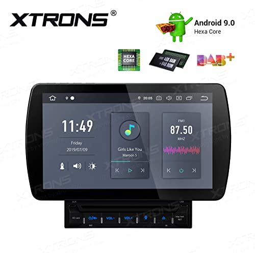 XTRONS 10.1 Inch Android 9.0 Double Din Car Stereo Radio DVD Player Hexa Core 4G RAM 64G ROM GPS Navigator Touch Screen Adjustable Viewing Angles Head Unit Supports WiFi Backup Camera OBD2 DVR TPMS