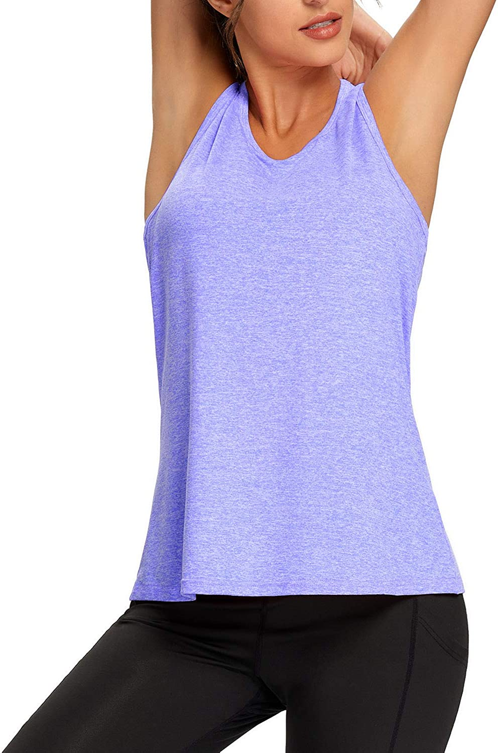 Workout Tank Tops for Women Loose Fit Yoga Shirts Mesh Back Racerback Muscle Tank Athletic Running Tops