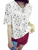 uxcell Lady Short Sleeve Cats Prints Casual T-Shirt