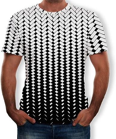 Camisetas Basicas Hombre Camisetas de Manga Corta Impresa 3D para Hombre Camisetas de Manga Corta Estampada para Hombre Blanco y Negro Camisetas Hombre Originales Camiseta Casual de los Hombres: Amazon.es: Ropa y