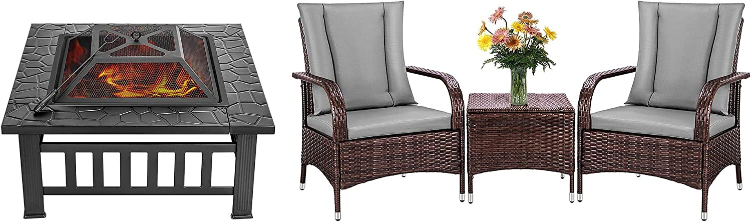 VIVOHOME 32 Inch Heavy Duty 3 in 1 Metal Square Patio Firepit Table with 3 Pieces Patio Furniture Set PE Wicker Outdoor Sofa Conversation Set Combo