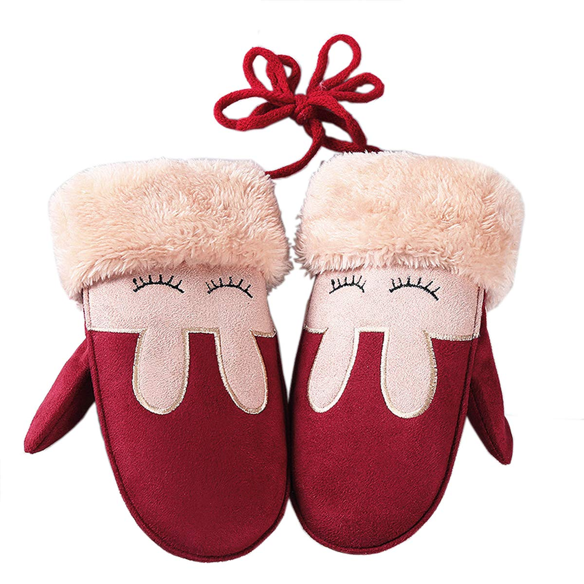 W-RHYME Girls Mittens with Strings Warm Thick Faux Suede Gloves (Color 1)