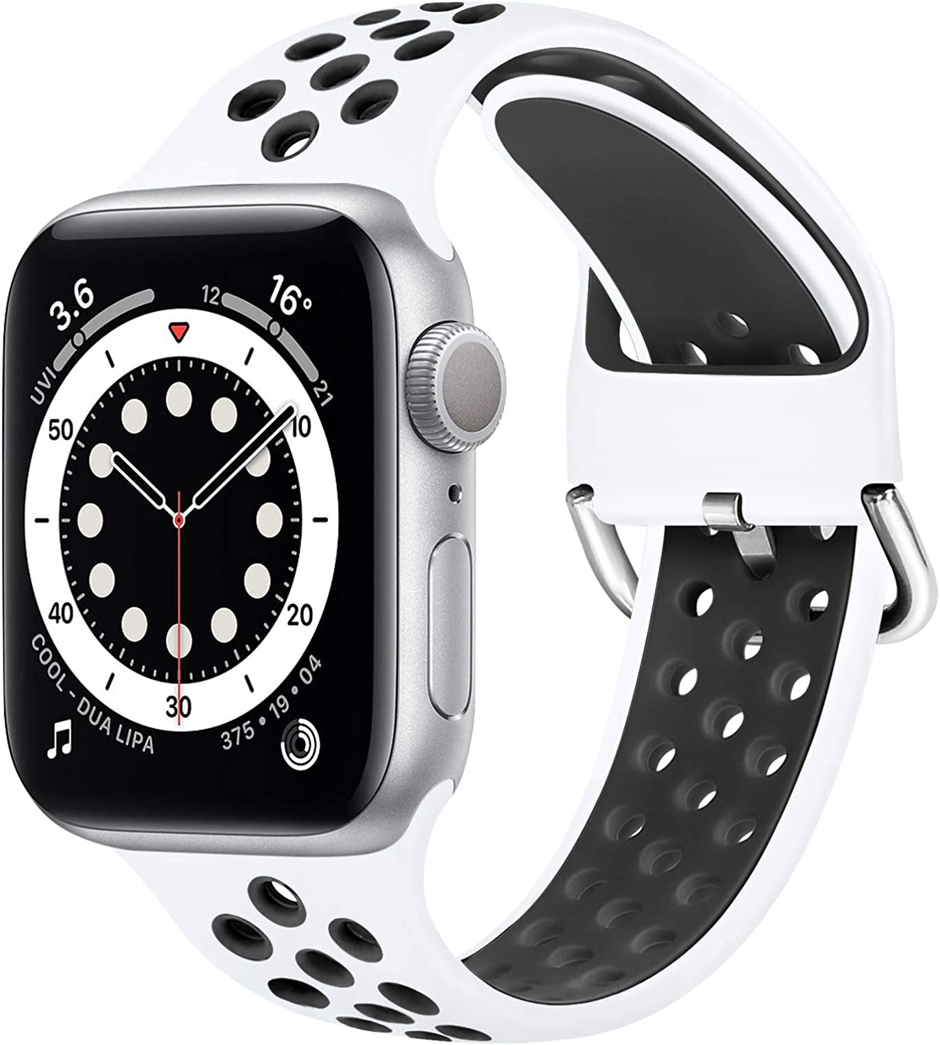 WNIPH Silicone Sports Bands Compatible with Apple Watch Band 42mm 44mm, Soft Breathable Silicone Straps Replacement Wristband for iwatch Series 6/5/4/3/2/1/SE for Men Women (White Black, 42mm/44mm)