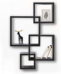 Halter Intersecting Cubes Wood Shelves, Floating Wall Shelves for Bathroom, Bedroom, Living Room, and Kitchen, Wooden Office Shelves, Rustic Shelves for Wall Storage, Floating Wall Shelf, Black