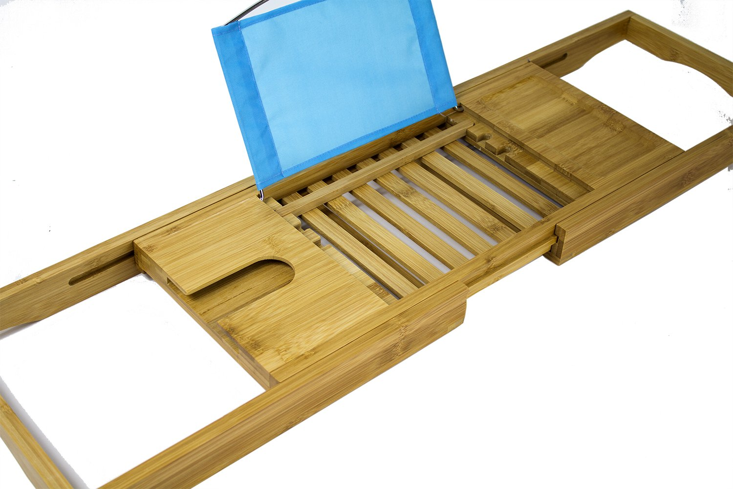 [Luxury] Bamboo Bathtub Caddy Tray with Expanding Sides, Premium Bath Tray, Tablet Holder, Wine Glass Holder, Eco Friendly Spay Tray for Bathtub Tray with Wine Holder for Bathtub by Misc Home (Image #6)