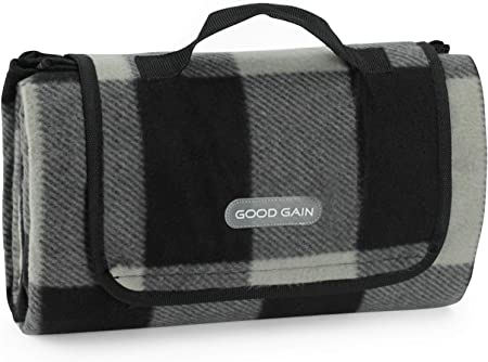 PortableAnd Extra Large Picnic /& Outdoor Blanket for Water-Resistant Handy Mat Tote Spring Summer Great for the Beach,Camping on Grass Waterproof Sandproof Black and White Striped