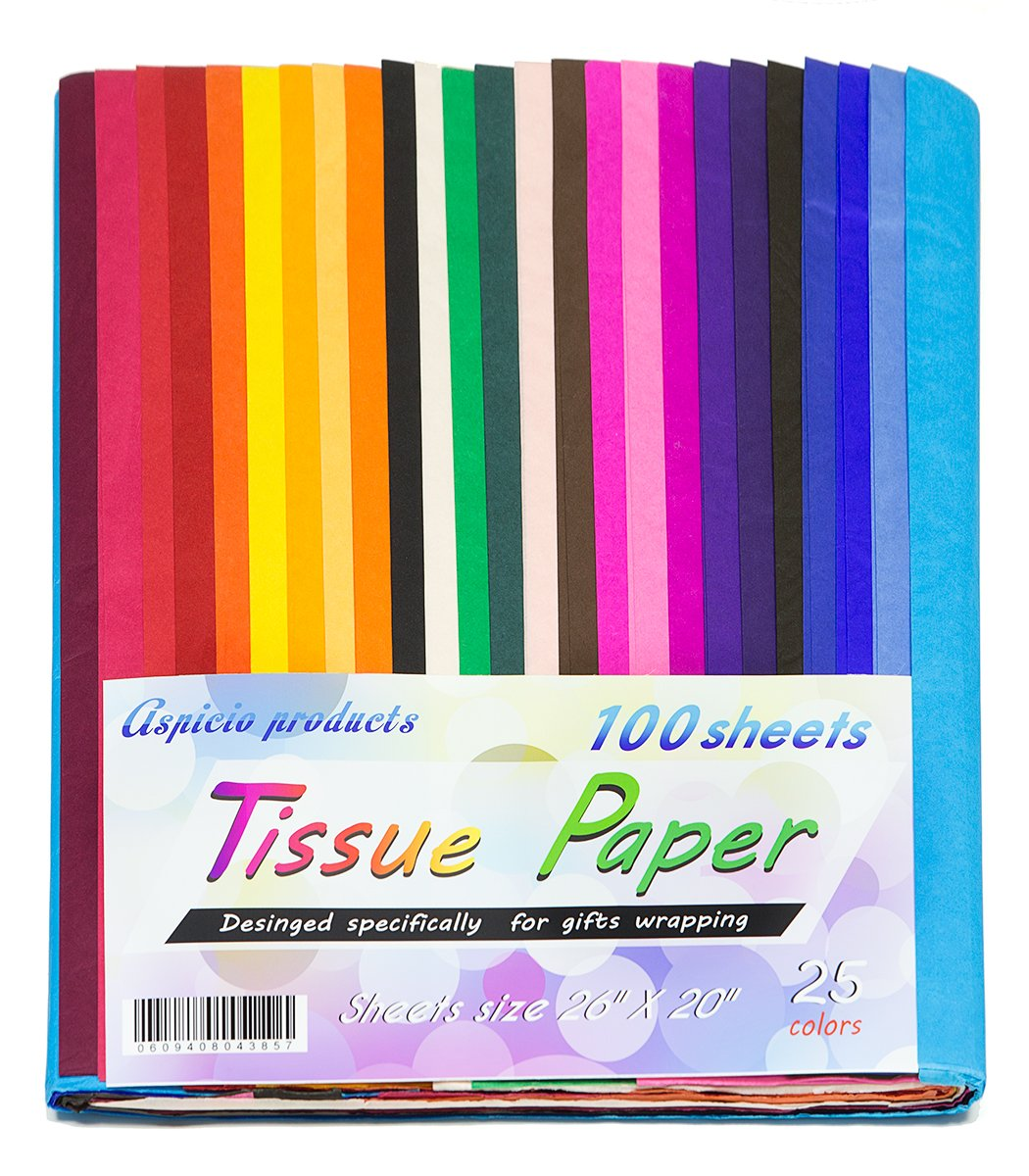 Colored Tissue Paper 100 Vivid Multi Color Sheets Size 26'' X 20'' Assorted Bulkl 25 Bold Solid Colors