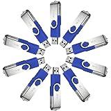 MECO(TM) Flash Drive 10Pcs 4GB 4G USB 2.0 Memory Stick Fold Storage Thumb Drive Swivel Design Blue