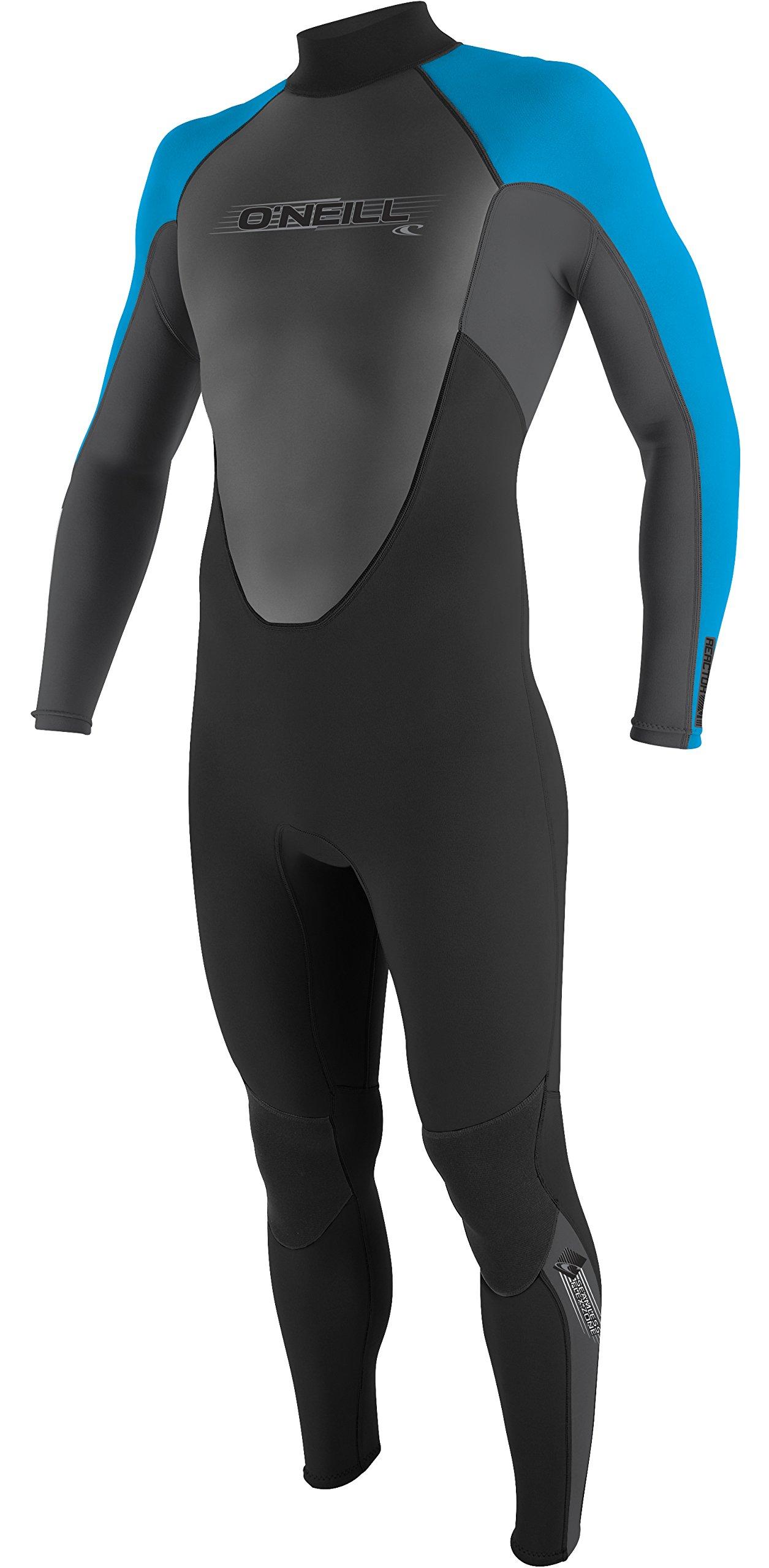 O'Neill Wetsuits Men's 3/2mm Reactor Full Suit, Black Smoke Tahiti, Small