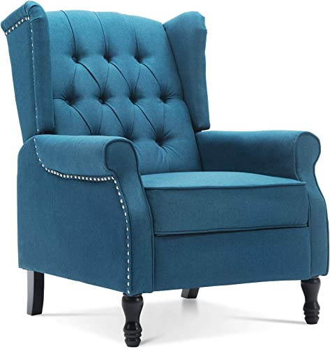 Artechworks Tufted Fabric Push Back Arm Chair Recliner Single Reclining for Adjustable Club Chair Home Padded Seating Living Room Lounge Modern Sofa Blue