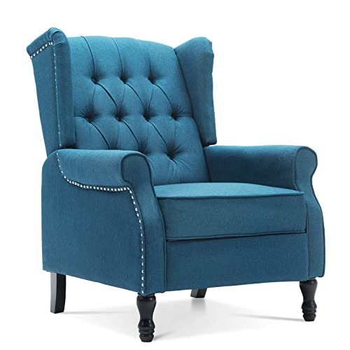 Artechworks Tufted Fabric Push Back Arm Chair Recliner Modern Single Reclining for Adjustable Club Chair Home Theater Padded Seat Living Room Lounge Blue