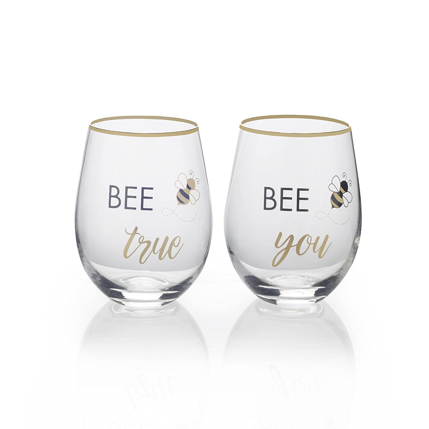 Mikasa Stemless Wine Glass Gift Set Bee True//Bee You 18-Ounce