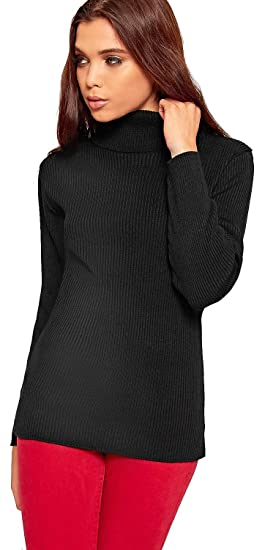 1ee1221085c42 Crazy Girls Womens High Rolled Polo Neck Ribbed Knitted Jumper Top Ladies  New Rib Knit Sweater Tops  Amazon.co.uk  Clothing