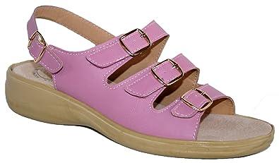 Ladies Cushion Walk Lightweight Adjustable Straps Summer Sandal With Memory  Foam Heel (Pink) (