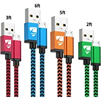 Micro USB Cable Aioneus Fast Android Cord Charger Cable 4Pack [2FT, 3FT, 5FT, 6FT] Cable Charging Cord Charger for Samsung Galaxy S7 S6 S5 J3 J3V J5 J7 J7V Note 5, LG K40 K20, Moto G4 G5, Tablet, PS4