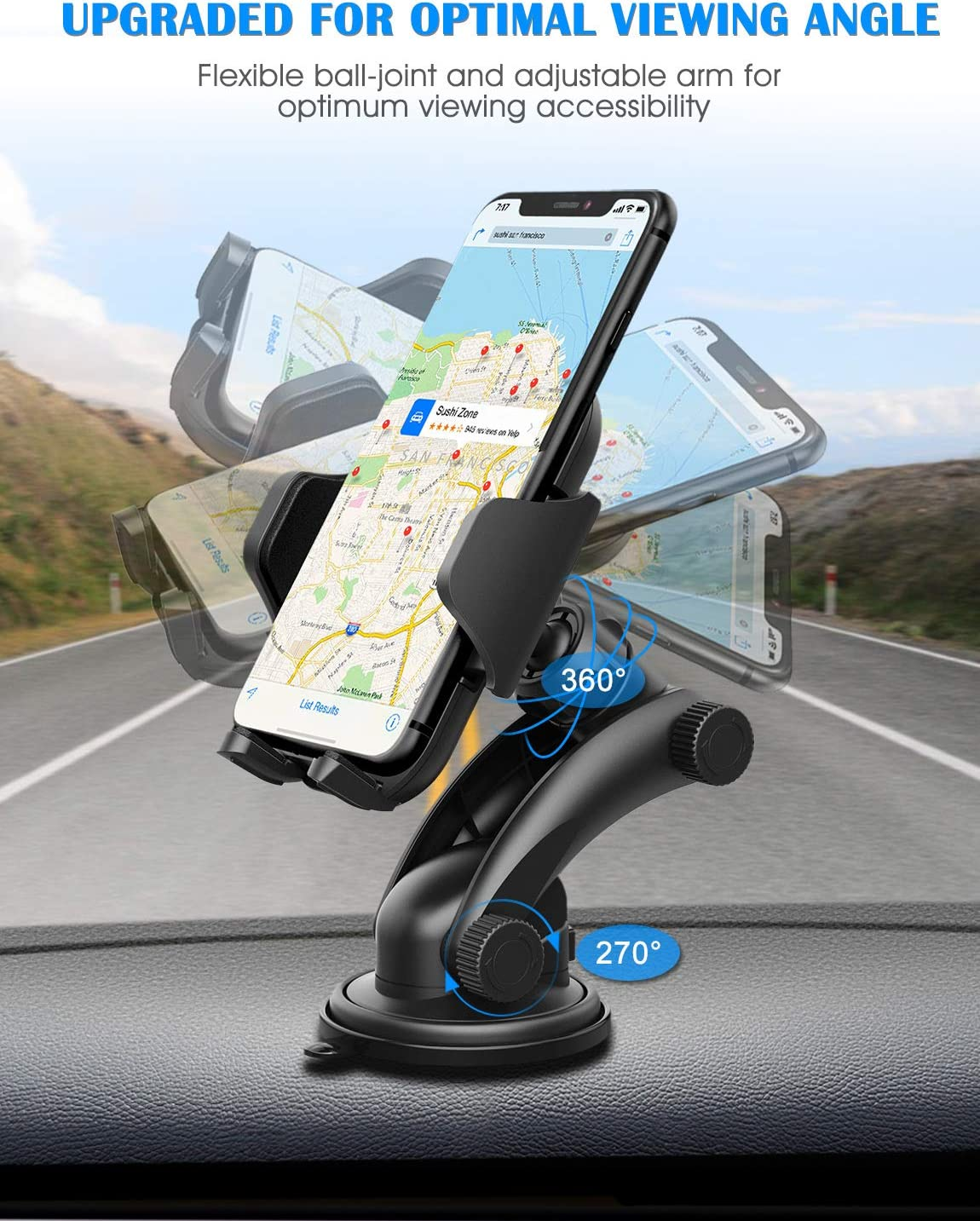 LG Galaxy S8//S7//S6 Mpow Car Phone Holder One-Touch Design/&Washable Strong Sticky Gel Pad Compatible iPhone XS//XR//X//8//8Plus7//7P//6s//6P Huawei and More Google Dashboard Car Phone Mount Holder