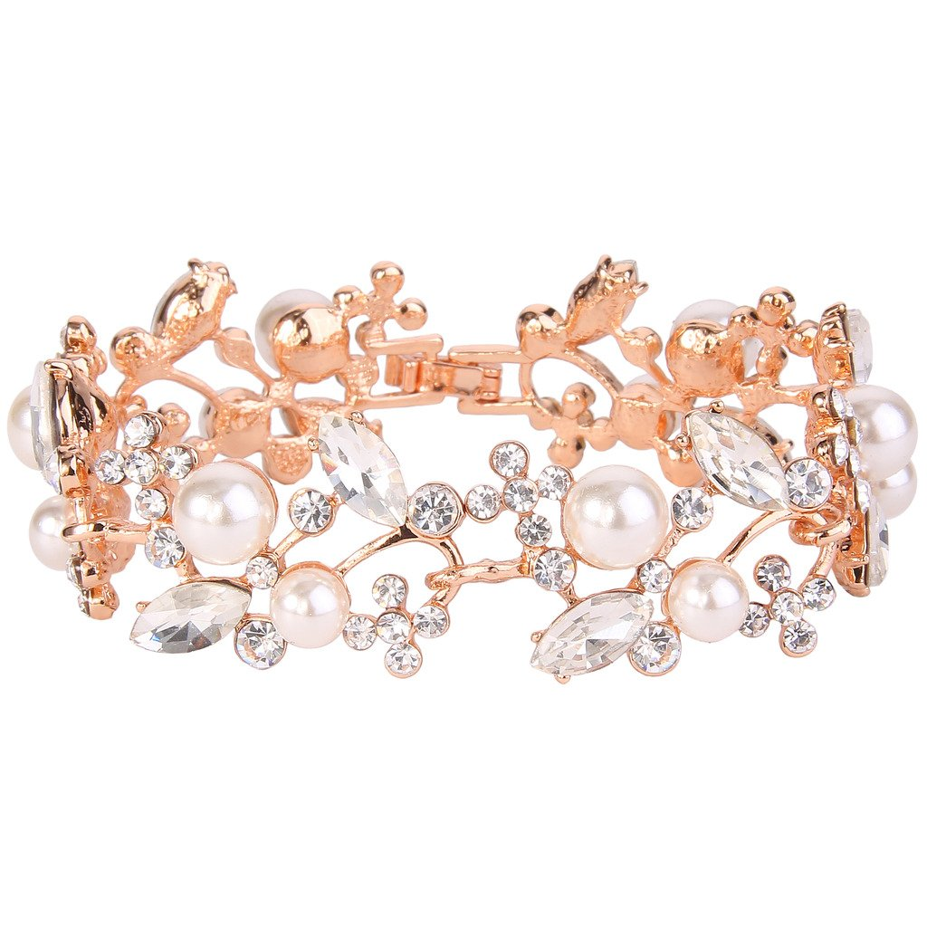 EVER FAITH Rose Gold-Tone Crystal White Simulated Pearl Bridal Floral Leaf Tennis Bracelet Clear