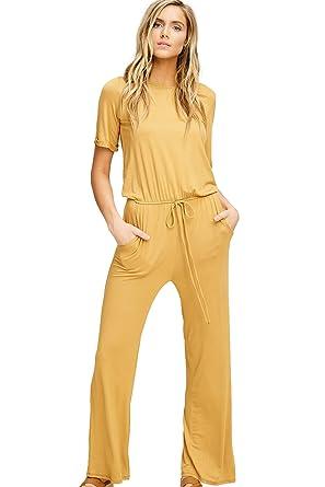 02b465329 Amazon.com: Annabelle Women's Casual Short Sleeve Jumpsuit Elastic Waist Wide  Leg Romper Pants with Pockets: Clothing