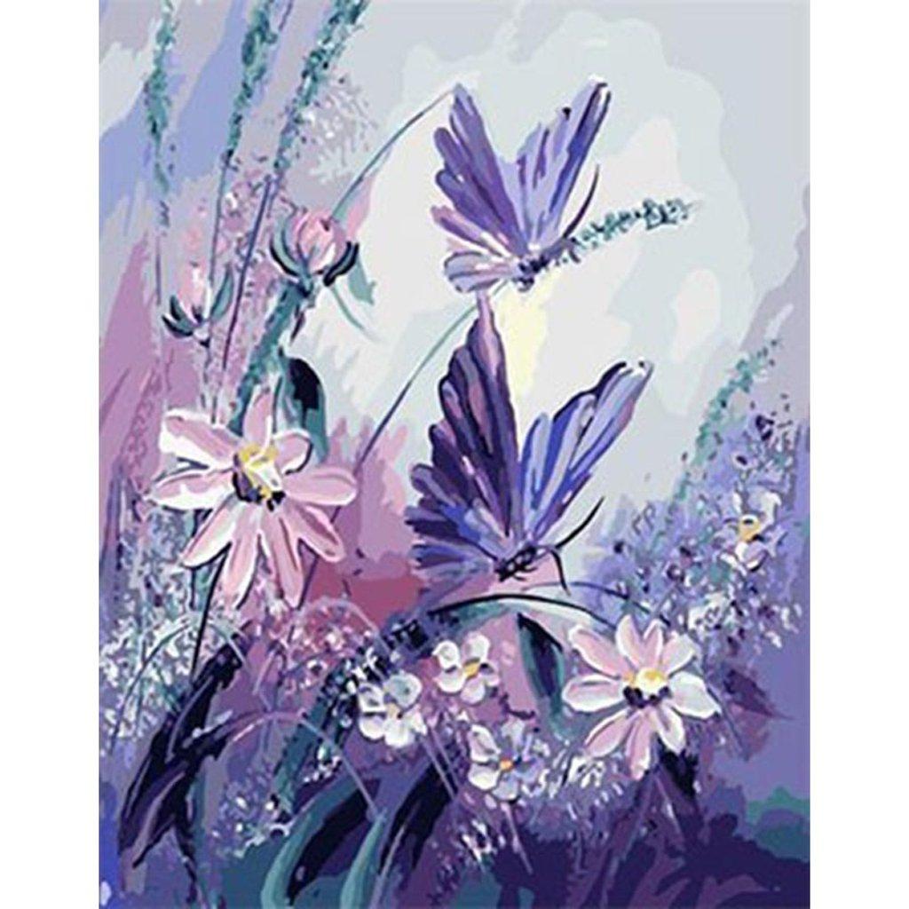Jagenie viola farfalla fiore DIY dipingere con i numeri senza cornice pittura a olio decorazione da parete 40*50 cm
