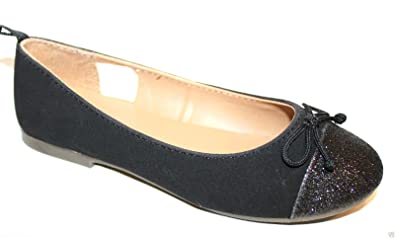 289abdea2 GAP Kids Girl's Faux Suede Ballet Flats with Glitter Toe Cap (12) Black