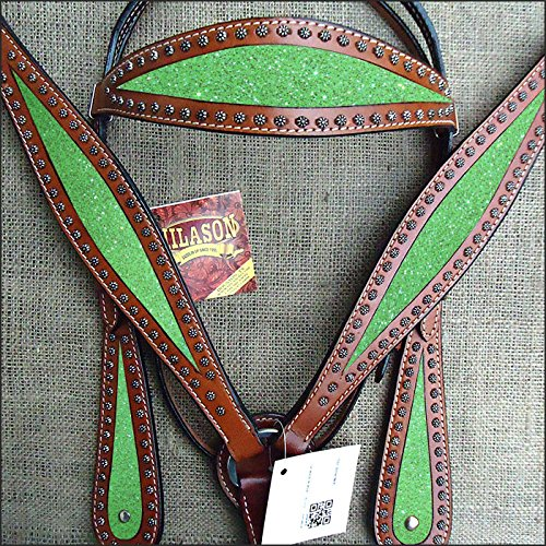 HILASON Western American Leather Horse Headstall Breast Collar Lime Green