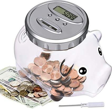 Digital Money Bank Battery Operated Digital Coin-Counting Money Jar with LCD Display Screen Piggy Bank for Kids Learning Counting Kids Gift Black