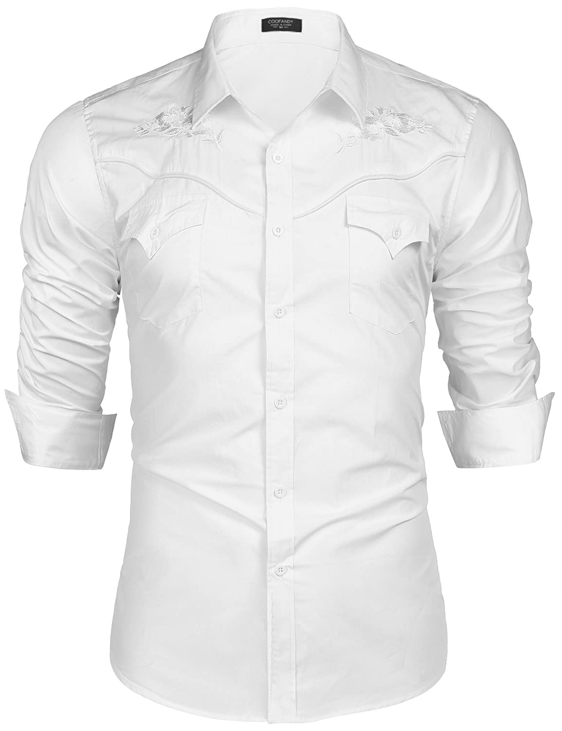 Coofandy Mens Embroidered Rose Western Shirt Long Sleeve Button