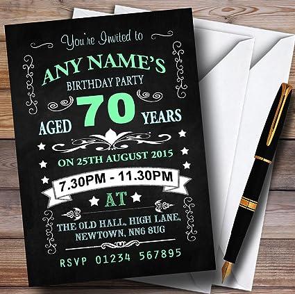 10 invitaciones vintage estilo pizarra verde y azul 70 años fiesta de cumpleaños personalizable invitaciones cualquier mensaje: Amazon.es: Oficina y papelería