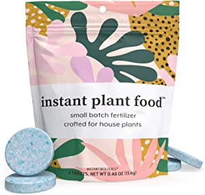 Instant Plant Food by Instant Biologics   4 Fizzing Nutrient Tablets for All Indoor & Outdoor House Plants   Boost New Plants & Revitalize Old Plants   Easy, Odorless, Vegan, Made in USA