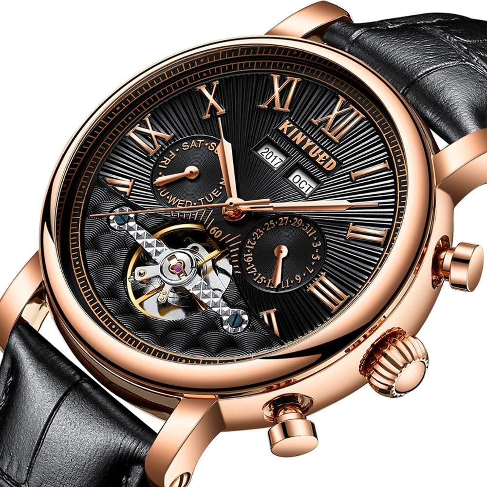 Klocka mekanisk klocka för män 3ATM vattentät automatisk armbandsur fashionabel stötresistent läderband JFYCUICAN 01svart