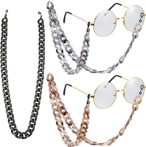 3 Piece Acrylic Eyeglass Chain Sunglasses Chain Twist Link Marble Texture Sunglasses Holder Eyewear Retainer Strap Eyeglass Lanyard