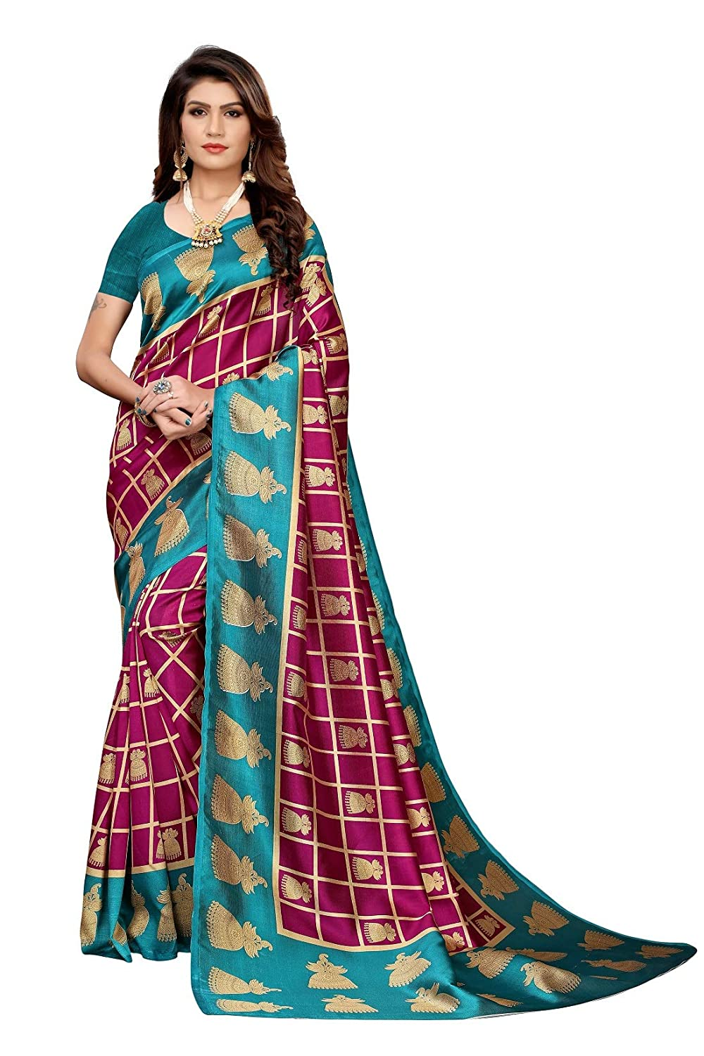 Buy J B Fashion Art Silk Lichi With Blouse Piece Saree Insta Wine Free At Amazon In