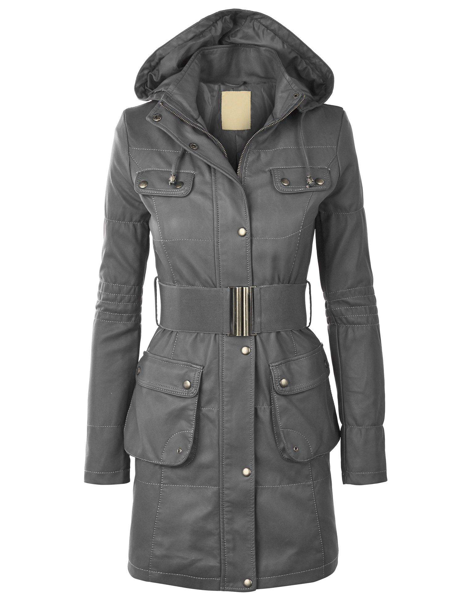 WJC869 Womens Faux Leather Long Coat S GRAY