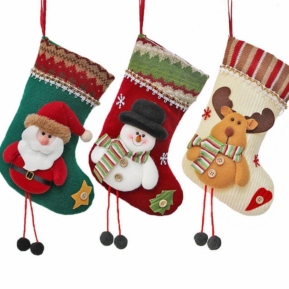 Calcetines de Navidad Decoración de la Ventana Colgante Pequeños Calcetines de Regalo de Navidad Decoración de Navidad Adornos de Árbol de Navidad,Blanco: ...