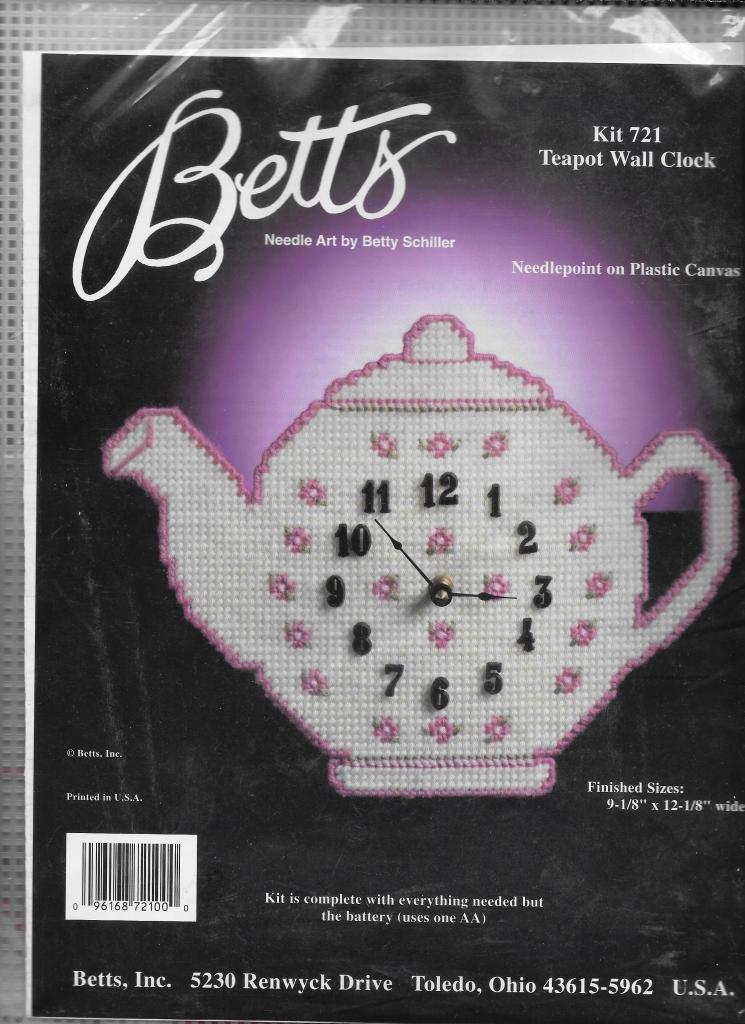 Amazon Betts Teapot Wall Clock Kit 721 Needlepoint On Plastic