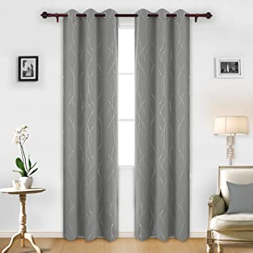 Deconovo Blackout Grommet Curtains Pair Thermal Insulated Window With Attractive Dots For Dining Room 42