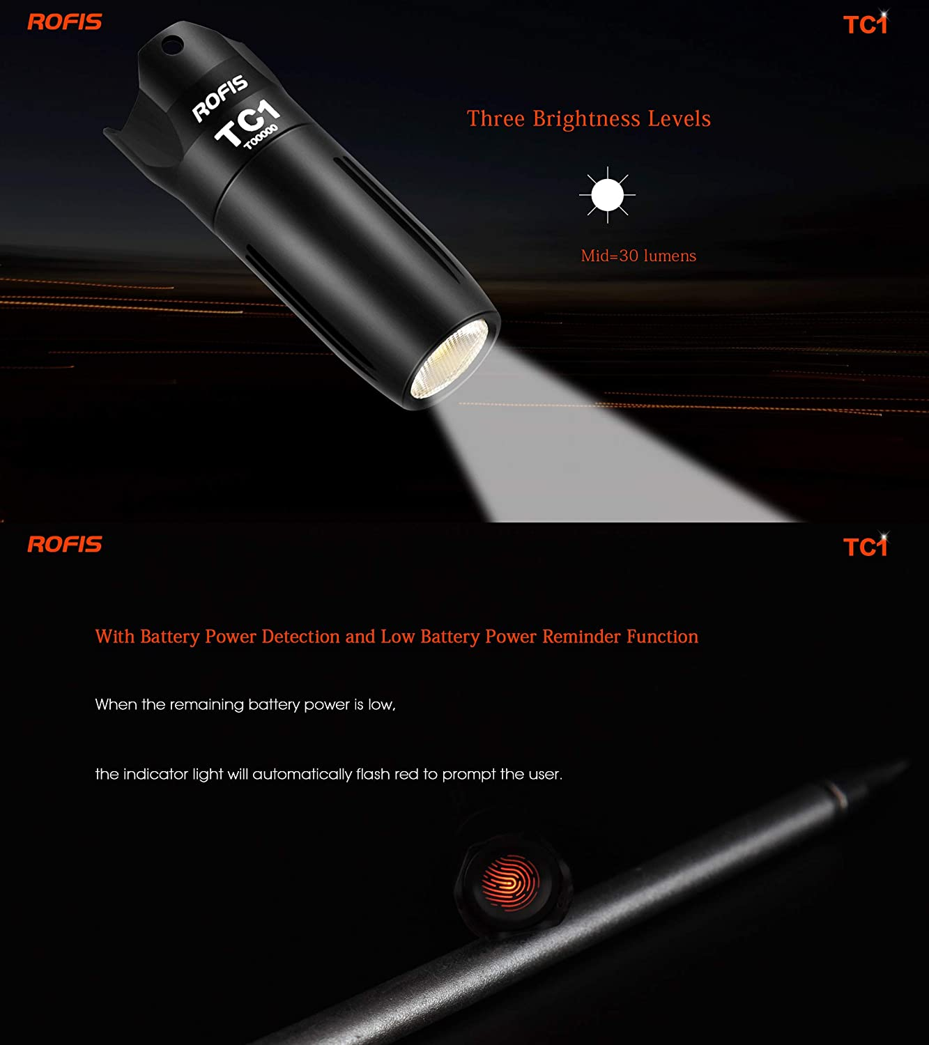 ROFIS TC1 Mini Flashlight 120LM CREE LED USB Charging 10180 Touch Switch Light