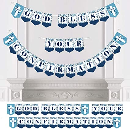 COMMUNION BLUE//Boy BLESSING Tableware /& Decorations {Amscan} Banner//Balloon