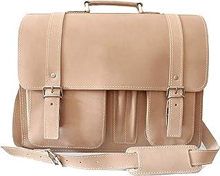 Aktentasche Lehrertasche Herren Damen Umhängetasche Schultasche Leder BEIGE Ivory (auch in grau und Schokobraun) klassisch, junges Design Stil