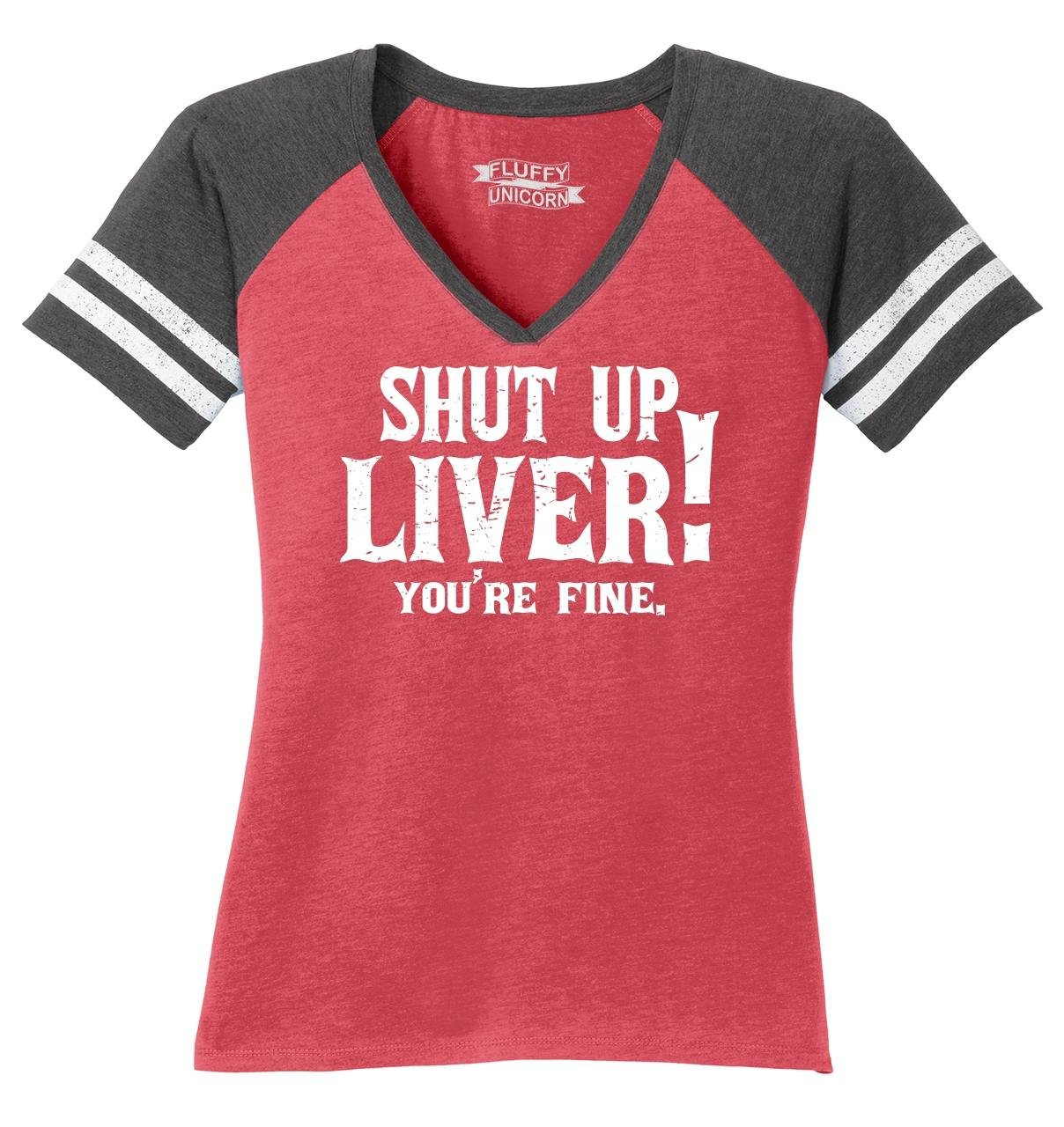 Comical Shirt Ladies Game V-Neck Tee Shut up Liver You're Fine Heathered Red/Heathered Charcoal L