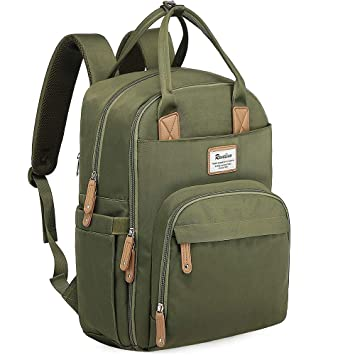 Army Green Nappy Changing Backpack with Changing Mat and Stroller Straps