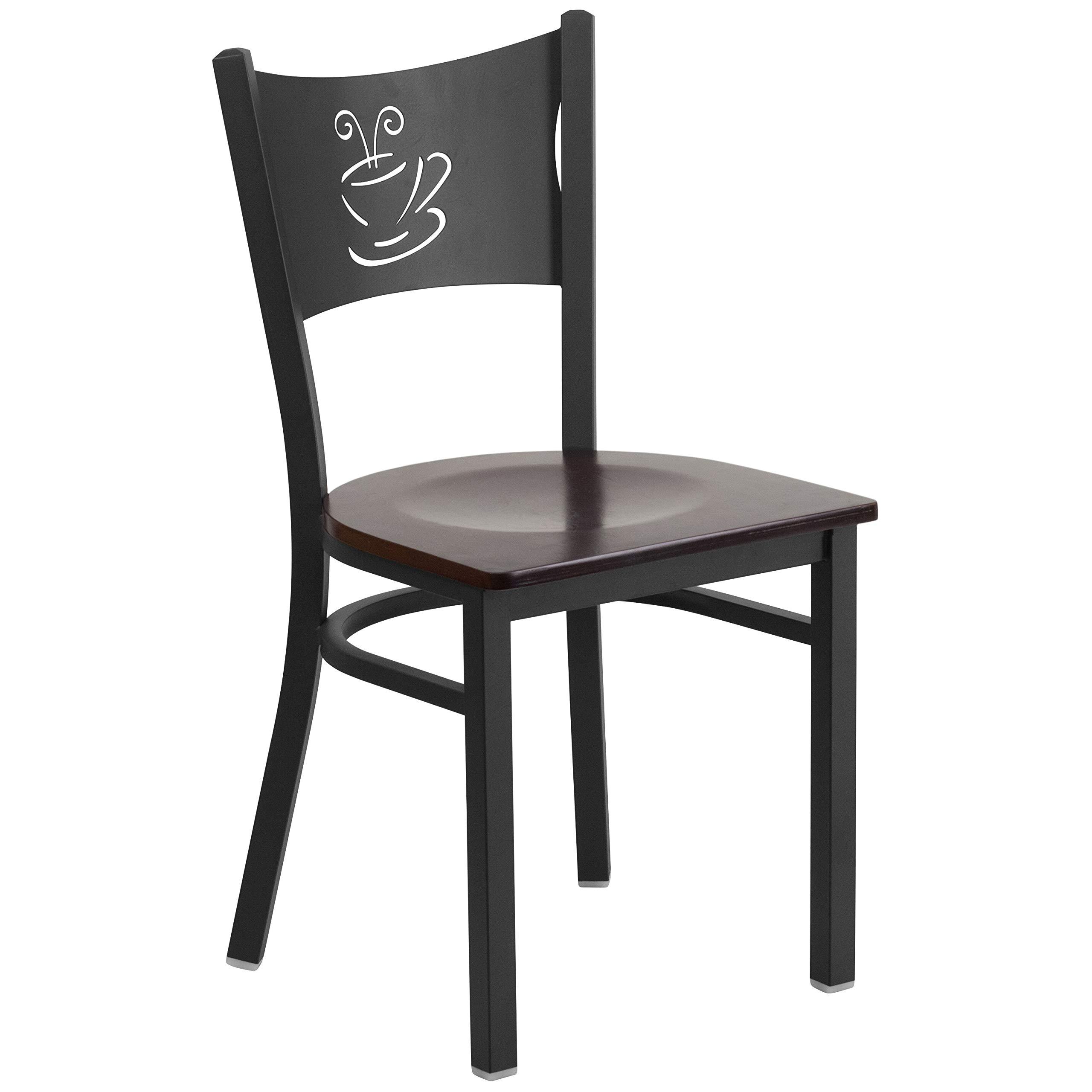 MFO Princeton Collection Black Coffee Back Metal Restaurant Chair - Walnut Wood Seat