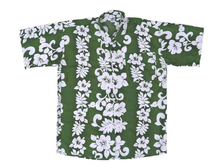 Hawaiihemd Hawaii Hawai Hemd grün Blumenreihen weiß