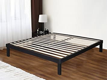 olee sleep 14 inch tall dura metal wood slat bed frame matress foundation 14bf03 queen