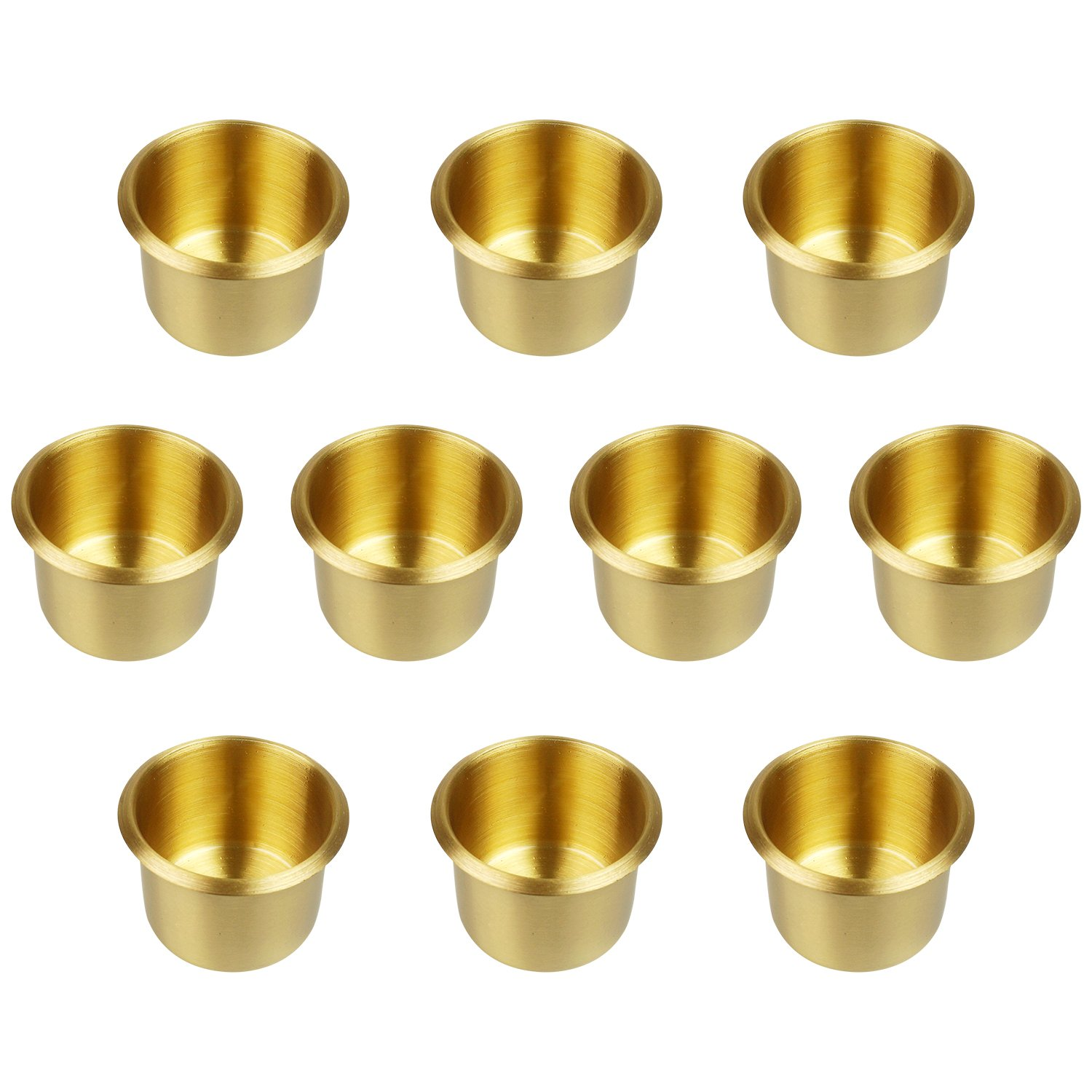 YH Poker Lot of 10 Solid Brass Drop In Cup Holder, Small by YH Poker