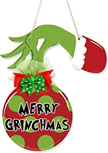Huray Rayho Grinch Christmas Door Decorations Merry Grinchmas Wood Hanging Sign Grinch Front Door Hanger Farmhouse Porch Home Decor Grinch Party Supplies