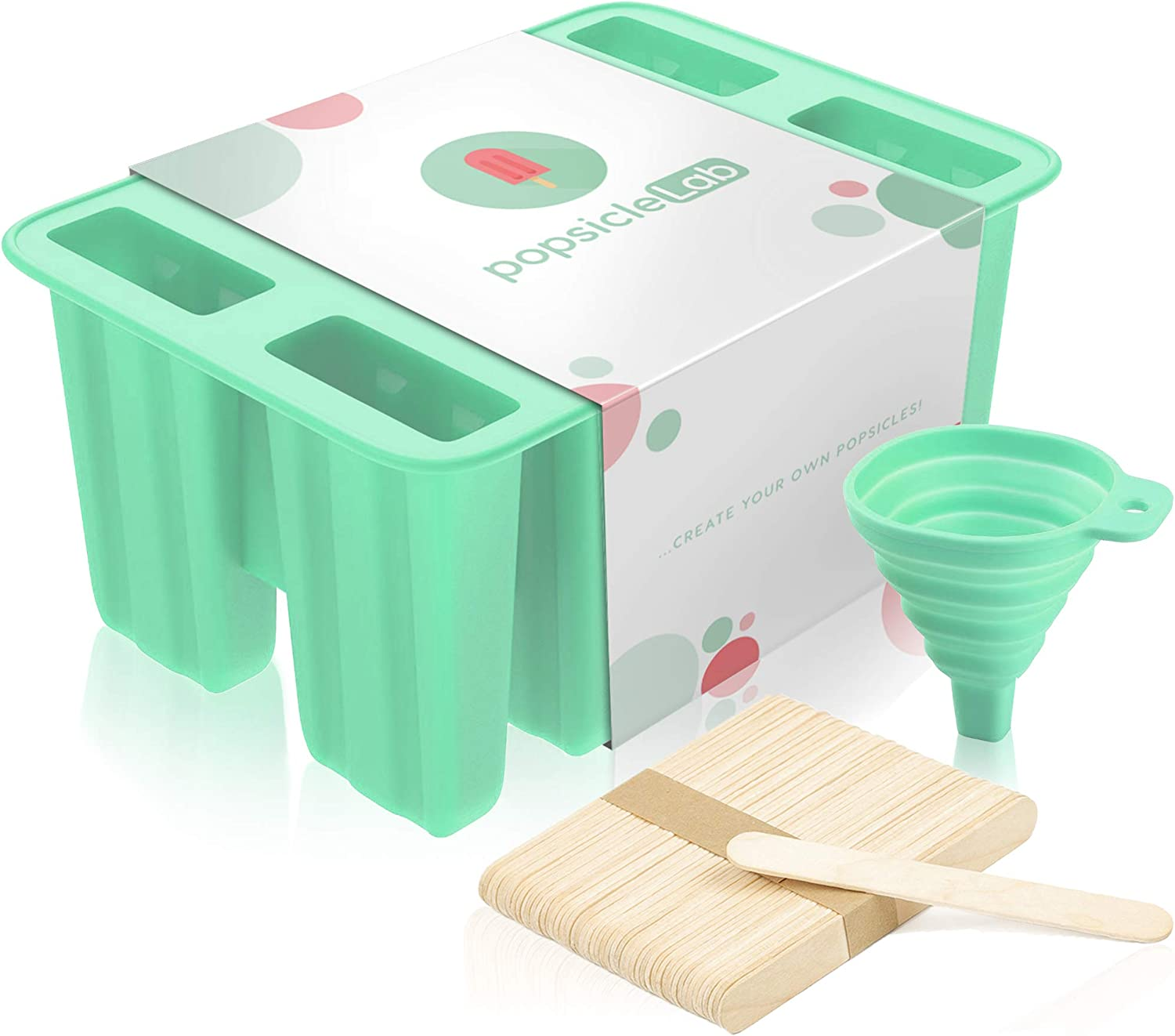Premium Popsicle Molds, Food Grade BPA-Free Silicone, Homemade Frozen Popsicles, Ice Pops Shapes, Ice Pop Maker Trays with 50 Popsicle Sticks, 50 Popsicle Bags and Silicone Funnel (by popsicleLab)