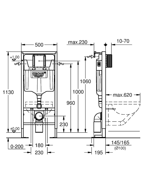 7a8cbdade5bce GROHE - 38340001 - Bâti-Support pour WC Suspendu - Mur Porteur ou Non- Porteur - Rapid SL (Import Allemagne)  Amazon.fr  Bricolage