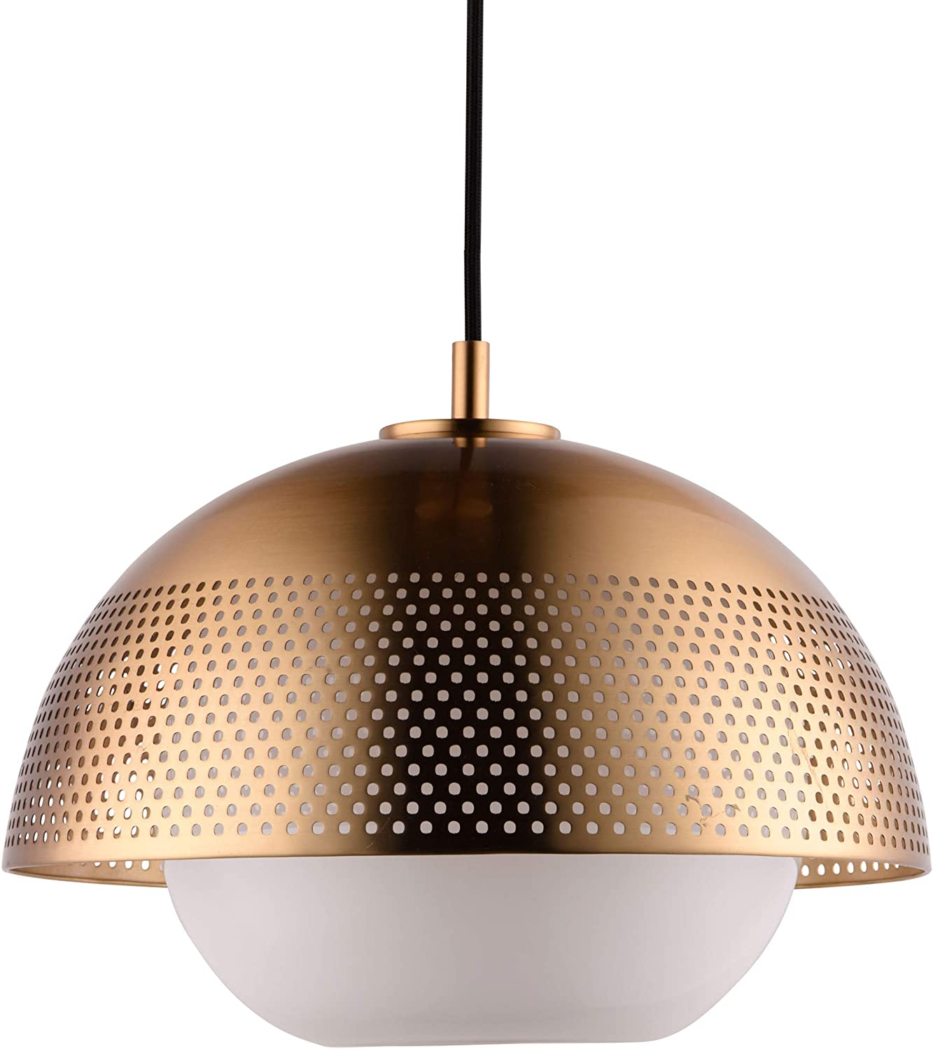 Rivet Mid-Century Modern Ceiling Hanging Pendant Fixture with Light Bulb – 14.25 x 14.25 x 11.25 Inches, 12-120 Inch Cord, Satin Brass