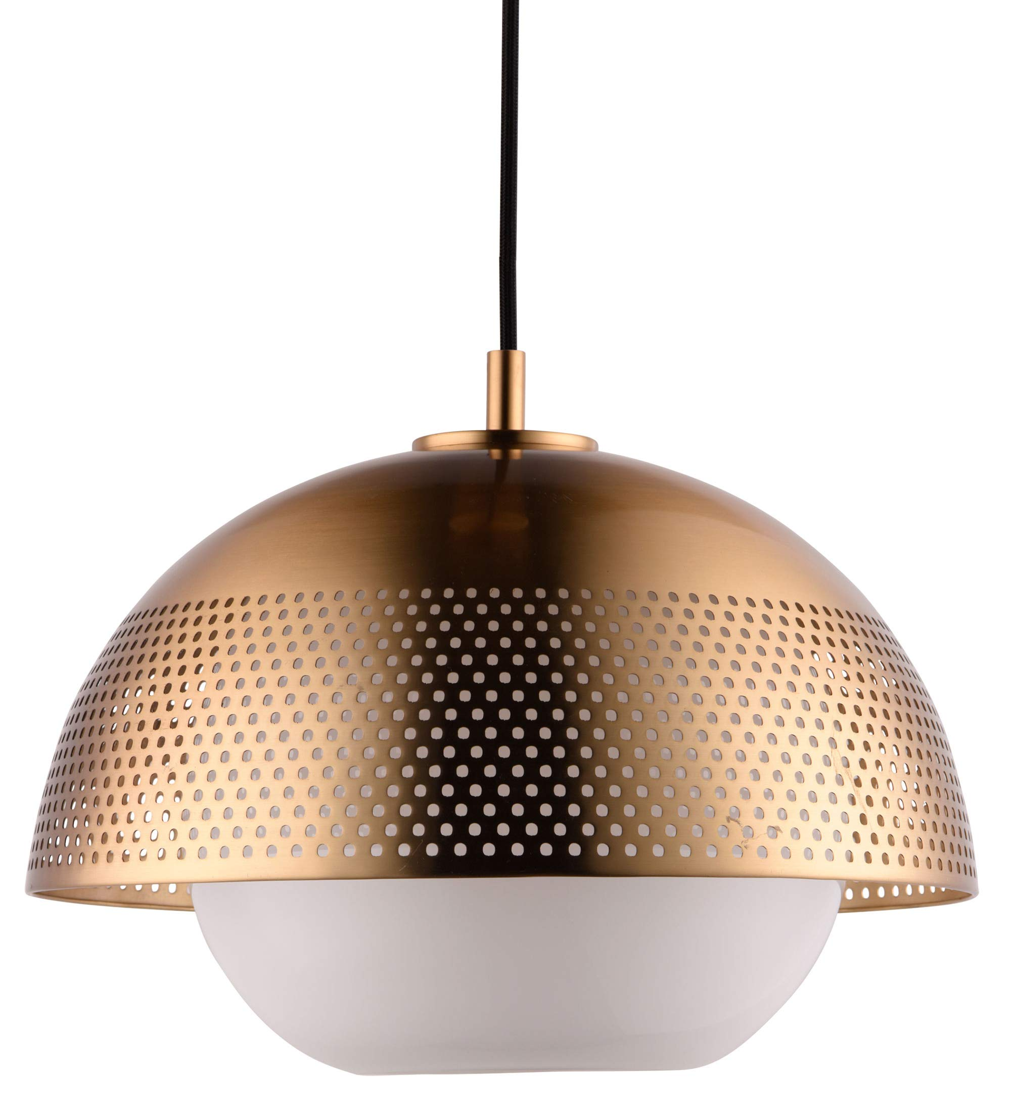 Rivet Mid-Century Cafe Pendant with Bulb, 11.25''H, Satin Brass